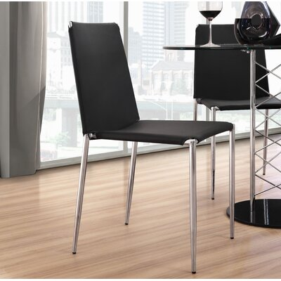 Zaria Dining Chair with Leatherette Seat Finish: Black