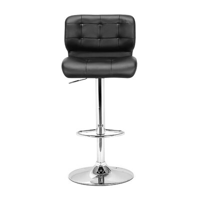 Fabrizio Adjustable Height Swivel Bar Stool Upholstery: Black