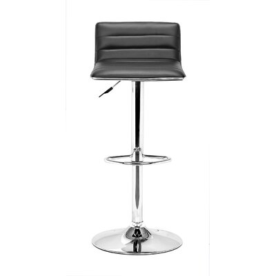 Fatima Adjustable Height Swivel Bar Stool Upholstery: Black