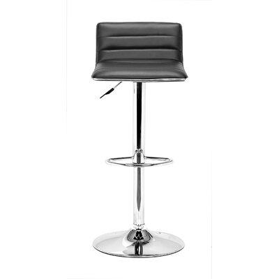 Fatima Adjustable Height Swivel Bar Stool Upholstery: Black