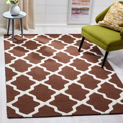 Charlenne Hand-Tufted Wool Dark Brown/Ivory Area Rug Rug Size: Rectangle 5 x 8