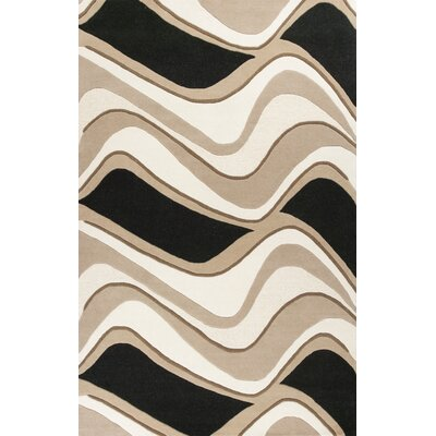 Cheston Black & Beige Waves Area Rug Rug Size: 23 x 39