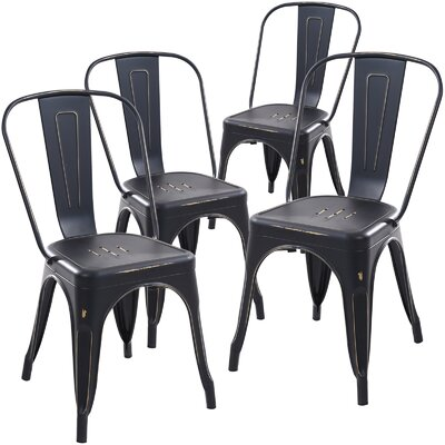 Alyssa Dining Chair Finish: Distressed Black