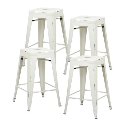 Alyssa 24 Bar Stool Color: Distressed White