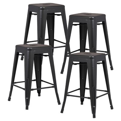 Alyssa 24 Bar Stool Color: Black
