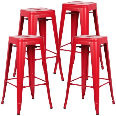 Alyssa Handmade 30 Bar Stool Finish: Red