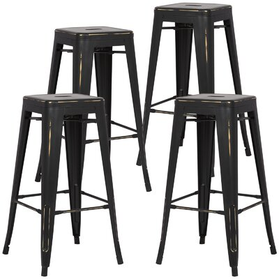 Alyssa Handmade 30 Bar Stool Finish: Distressed Black