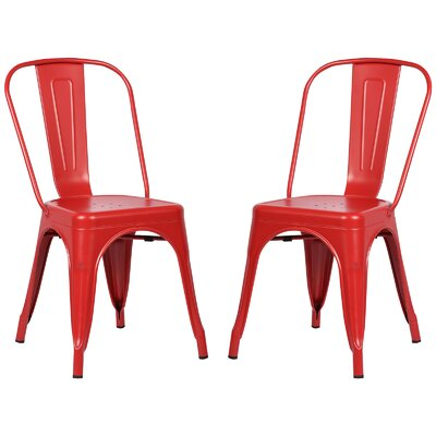 Alyssa Modern Metal Side Chair Finish: Red