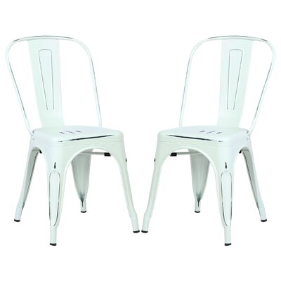 Alyssa Contemporary Side Chair Color: Distressed White