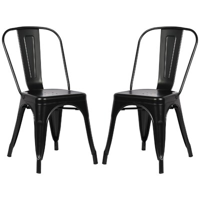 Alyssa Modern Metal Side Chair Finish: Black