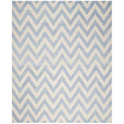 Charlenne Hand-Tufted Wool Light Blue/Ivory Area Rug Rug Size: Rectangle 8 x 10
