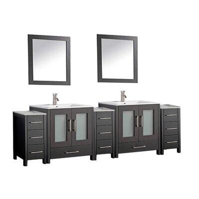 Larosa 108 Double Sink Bathroom Vanity Set with Mirror Finish: Espresso