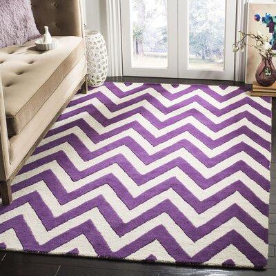 Charlenne Hand-Tufted Purple/Ivory Wool Area Rug Rug Size: Rectangle 5 x 8