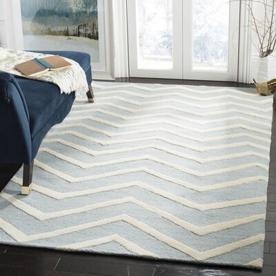 Charlenne Hand-Tufted Wool Gray/Ivory Area Rug Rug Size: Rectangle 5 x 8