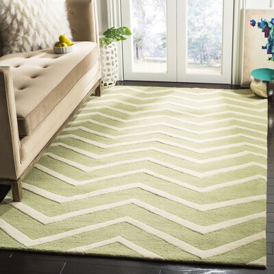 Charlenne Hand-Tufted Wool Green/Ivory Area Rug Rug Size: Rectangle 5 x 8