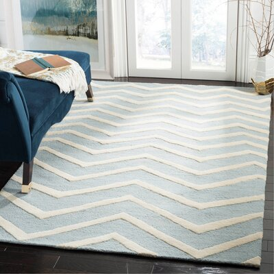 Charlene Hand-Tufted Wool Gray/Ivory Area Rug Rug Size: Rectangle 5 x 8