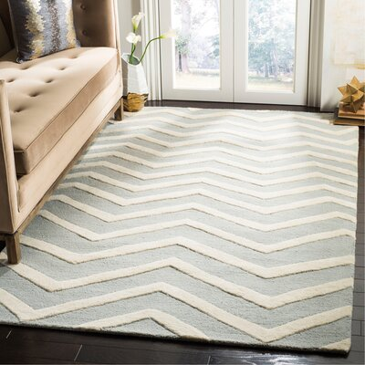 Charlenne Hand-Tufted Gray/Ivory Area Rug Rug Size: Rectangle 5 x 8