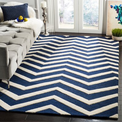 Charlenne Hand-Tufted Wool Blue/Ivory Area Rug Rug Size: Rectangle 5 x 8