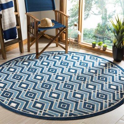 Charlot Blue Indoor/Outdoor Area Rug Rug Size: Round 67