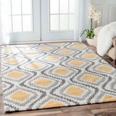 Garrard Hand-Woven Yellow Area Rug Rug Size: Rectangle 5 x 8