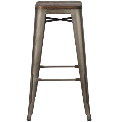 Alyssa 30 Bar Stool Finish: Elmwood / Bronze
