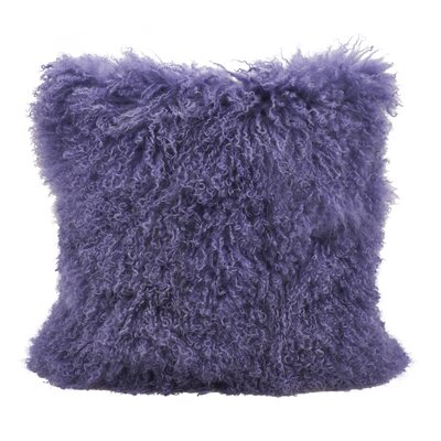 Becky Mongolian Fur Throw Pillow Color: Ultra Violet, Size: 16 x 16