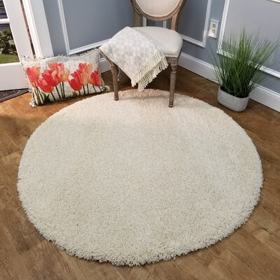Burns Single Solid Ivory Shag Area Rug Rug Size: Round 5