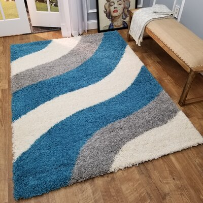 Burns Block Striped Waves Contemporary White/Turquoise Blue Shag Area Rug Rug Size: 67 x 93