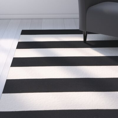 Skyler Hand-Woven Cotton Black/White Area Rug Rug Size: Rectangle 6 x 9