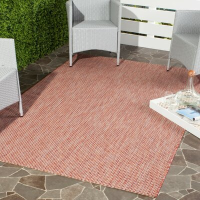 Mullen Hand-Woven Red/Beige Indoor/Outdoor Area Rug Rug Size: Rectangle 53 x 77
