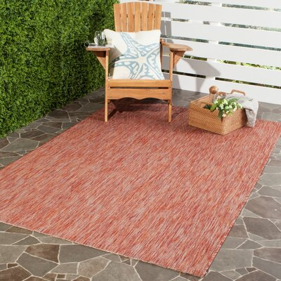 Lefferts Red Indoor/Outdoor Area Rug Rug Size: Rectangle 53 x 77