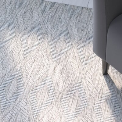Lefferts Geometric Gray Indoor/Outdoor Area Rug Rug Size: Rectangle 2 x 37