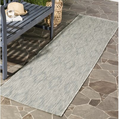 Lefferts Geometric Gray Indoor/Outdoor Area Rug Rug Size: Rectangle 27 x 5