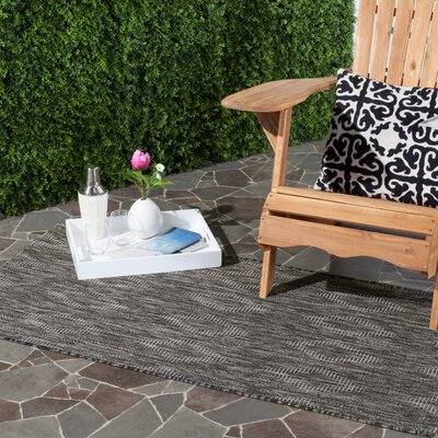 Lefferts Black Indoor/Outdoor Area Rug Rug Size: Rectangle 4 x 57
