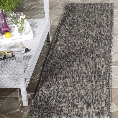 Lefferts Black Indoor/Outdoor Area Rug Rug Size: Rectangle 27 x 5