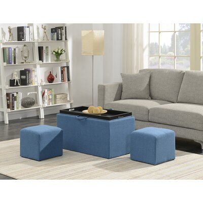 Marla 3 Piece Storage Ottoman Set Upholstery: Soft Blue