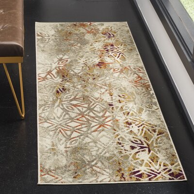 Alivia Gray/Purple Area Rug Rug Size: Runner 24 x 67