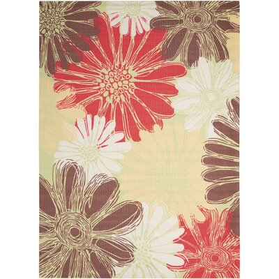 Avis Brown/Green/Red Indoor/Outdoor Area Rug Rug Size: Rectangle 53 x 75