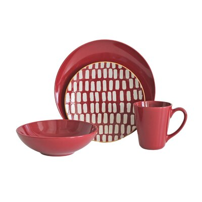 Dashed Lines 16 Piece Dinnerware Set, Service for 4 DASH16R