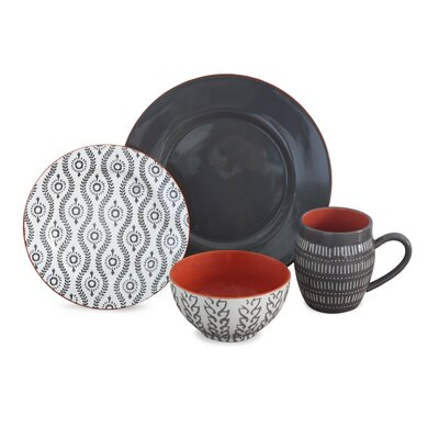Baum Tangiers 16 Piece Dinnerware Set, Service for 4