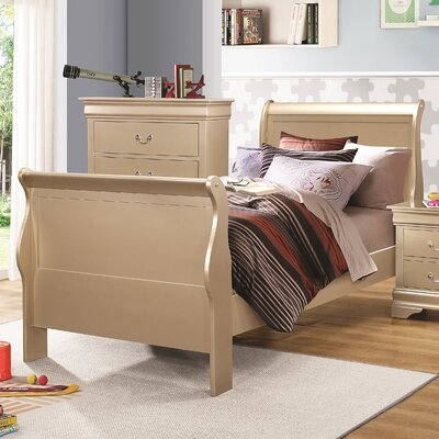 Allenville Sleigh Bed Size: Twin, Color: Metallic Champagne