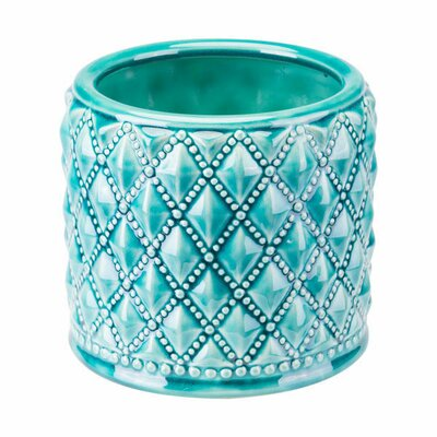 Kaylyn Tufted Ceramic Pot Planter Color: Teal, Size: 6.3