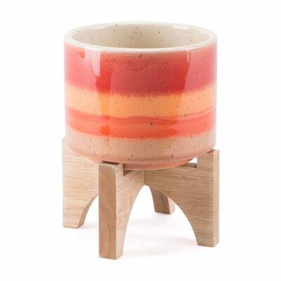 Turhan Stripes Ceramic Pot Planter Size: 7.1