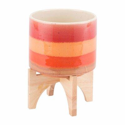 Turhan Stripes Ceramic Pot Planter Size: 10.4
