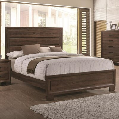 Omeara Panel Bed Color: Medium Warm Brown, Size: King