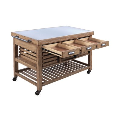 Mericle Kitchen Island with Stainless Steel Top E00B9E0FE2FF4C3F8792A4F218B9A853
