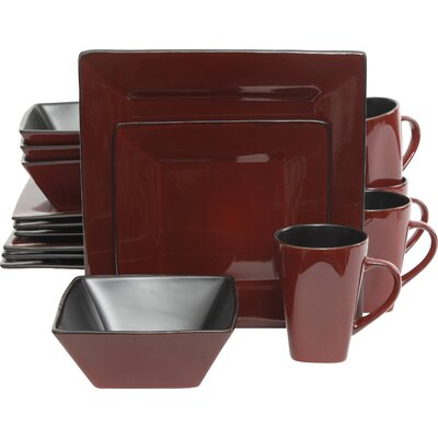 Jove 16 Piece Dinnerware Set Color: Red