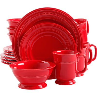 Lakin Barberware 16 Piece Dinnerware Set, Service for 4 Color: Red
