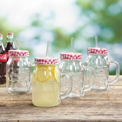 Coca-Cola Country Classic 20 oz. Glass Mason Jar with Lid and Straw 950100624M