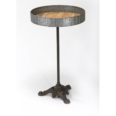Raw Metal and Wood End Table